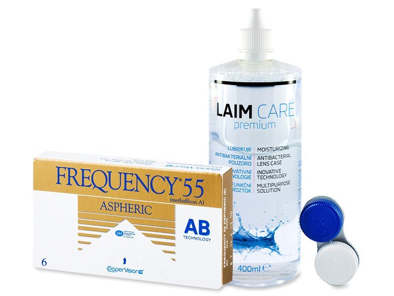 Frequency 55 Aspheric (6 šošoviek) + roztok Laim-Care 400ml