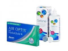 Air Optix plus HydraGlyde for Astigmatism (3 šošovky) + roztok Gelone 360 ml