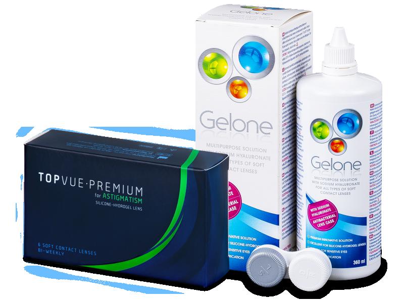 TopVue Premium for Astigmatism (6šošoviek) +roztok Gelone 360ml