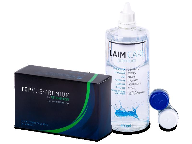 TopVue Premium for Astigmatism (6šošoviek) +roztok Laim-Care 400ml